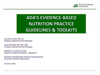 ADA's Evidence-Based Nutrition Practice Guidelines & Toolkits