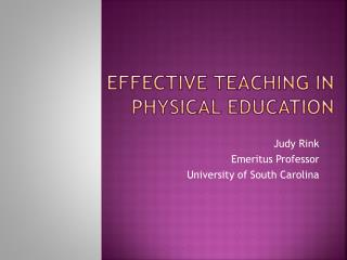 Effective Teaching in Physical Education