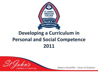 Developing a Curriculum in  Personal and Social Competence 2011
