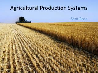 Agricultural Production Systems