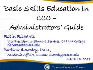 Basic Skills Education in CCC  –  Administrators' Guide