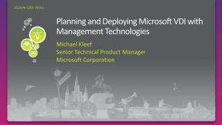 Planning and Deploying Microsoft VDI with Management Technologies