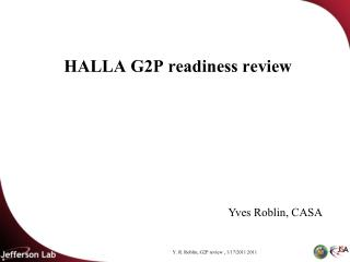 HALLA G2P readiness review