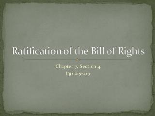 Ratification of the Bill of Rights