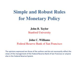 Simple and Robust Rules  for Monetary Policy