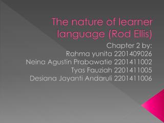 The nature of learner language (Rod Ellis)