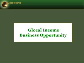Glocal Income  Business Opportunity