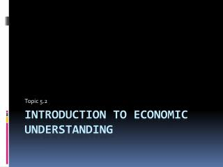 Introduction to Economic Understanding