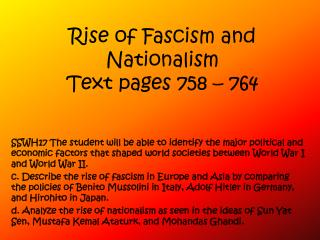 Rise of Fascism and Nationalism Text pages 758   764
