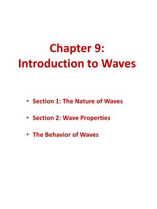 Chapter 9: Introduction to Waves
