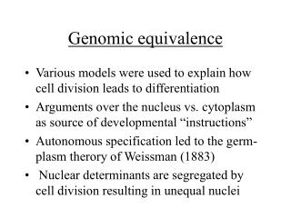 Genomic equivalence