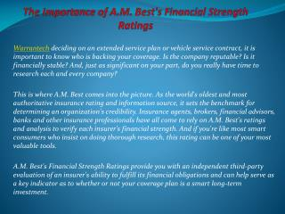 The Importance of A.M. Best's Financial Strength Ratings