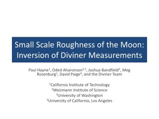 Small Scale Roughness of the Moon: Inversion of Diviner Measurements