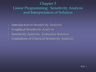 Chapter  3  Linear Programming:  Sensitivity Analysis  and Interpretation of Solution