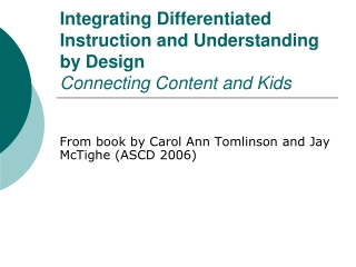 Ppt Integrating Differentiated Instruction And Understanding By Design Connecting Content And Kids Powerpoint Presentation Id 257281