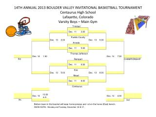 14TH  ANNUAL  2013  BOULDER VALLEY INVITATIONAL BASKETBALL TOURNAMENT Centaurus High School