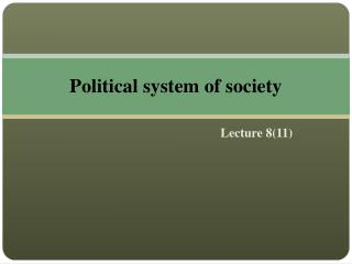 Political system of society