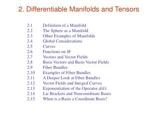 2. Differentiable Manifolds and Tensors