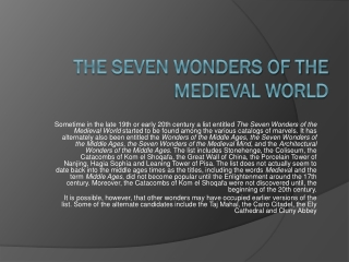 Wonders of the World The Seven Wonders of the Ancient World