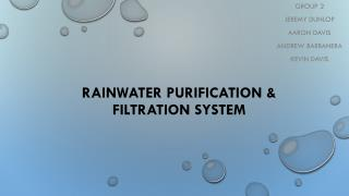 Rainwater purification & Filtration System