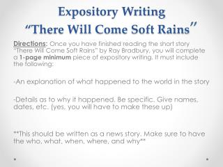 "Expository Writing ""There Will Come Soft Rains """