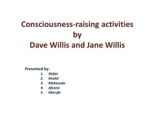 Consciousness-raising activities by Dave Willis and Jane Willis