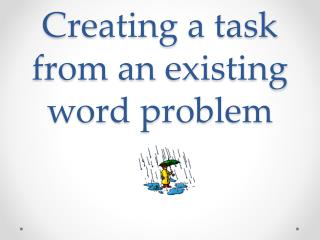 Creating a task from an existing word problem