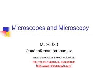 Microscopes and Microscopy