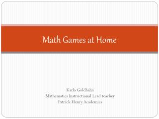 Math Games at Home