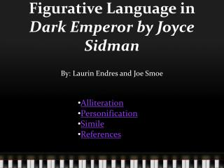 Figurative Language in  Dark Emperor by Joyce  Sidman