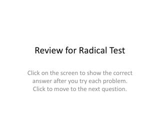 Review for Radical Test