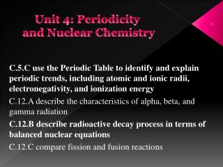 Unit 4: Periodicity  and Nuclear Chemistry