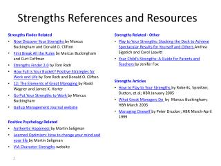 Strengths References  and  Resources