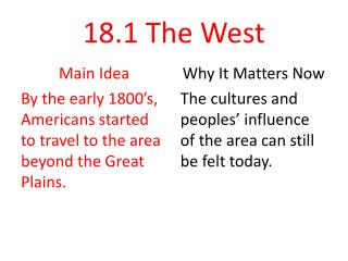 18.1 The West