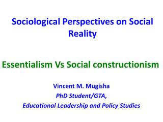 Sociological Perspectives on Social Reality