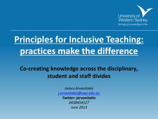 Principles for Inclusive Teaching:  practices make the difference