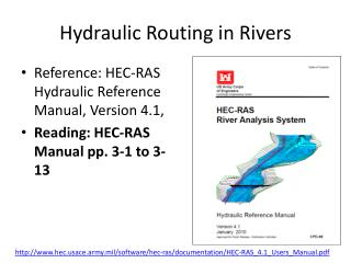 Hydraulic Routing in Rivers
