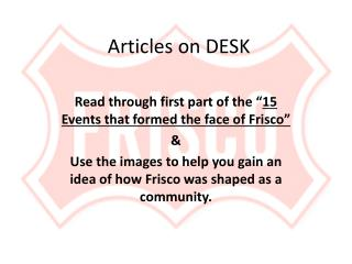 Articles on DESK