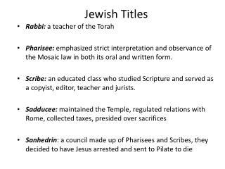 Jewish Titles
