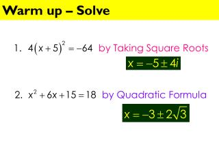 Warm up – Solve