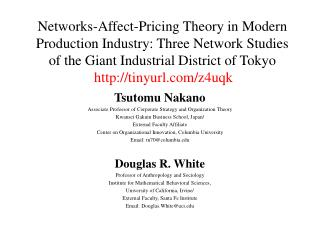 Networks-Affect-Pricing Theory in Modern Production Industry: Three Network Studies of the Giant Industrial District of