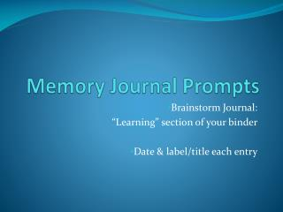 Memory Journal Prompts