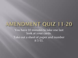 Amendment quiz 11-20