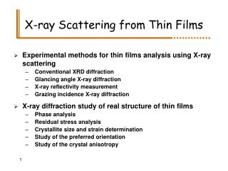 X-ray Scattering from Thin Films