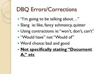 DBQ Errors/Corrections