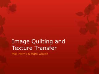 Image Quilting and Texture Transfer