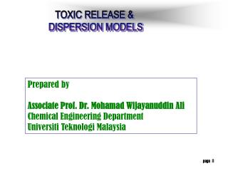 TOXIC RELEASE &  DISPERSION MODELS