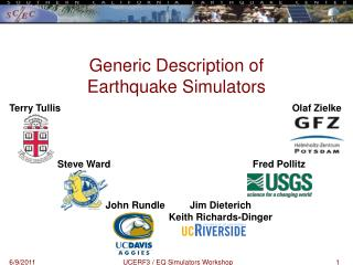 Generic Description of  Earthquake Simulators