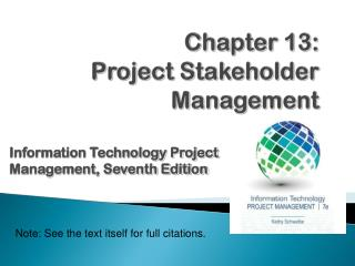 Chapter  1 3 : Project  Stakeholder  Management