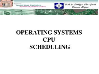 OPERATING SYSTEMS CPU  SCHEDULING